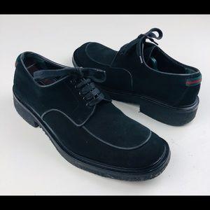 Gucci Designer mens black suede derby shoes Sz 47